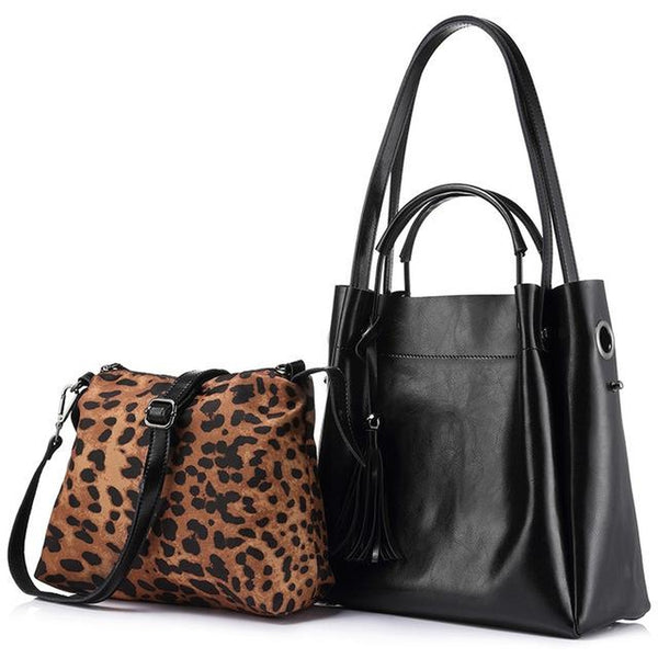 <bold>Tote & Crossbody Bag Set <br>Genuine-Leather Handbag Black - strapsandbrass.com