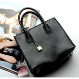Top-Handle / Crossbody Bag  <br>Genuine-Leather Handbag Black - strapsandbrass.com