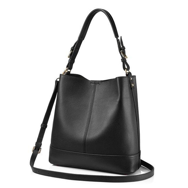 <bold>Bucket  / Tote Bag <br>Genuine-Leather Handbag Black - strapsandbrass.com