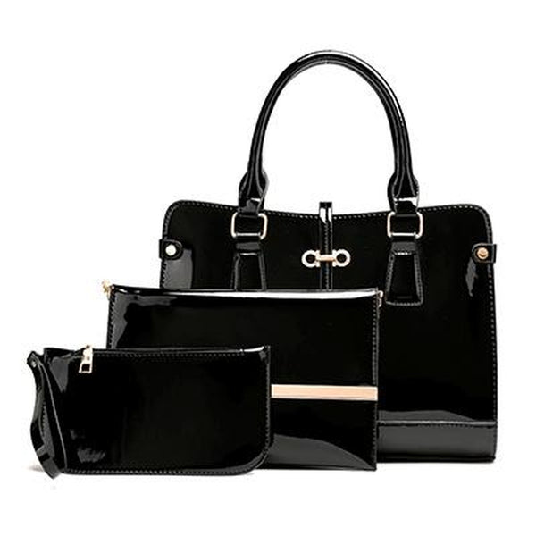 <bold>Tote Crossbody Bag & Purse Set <br>Vegan-Leather Handbag Black - strapsandbrass.com