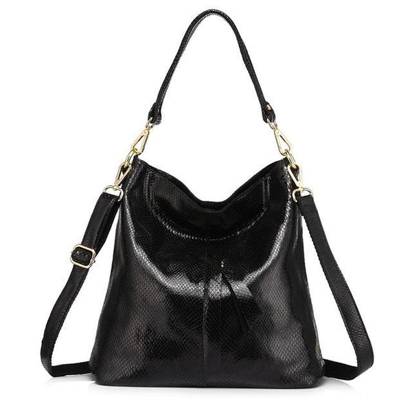 <bold>Hobo  / Shoulder Bag  <br>Vegan-Leather Handbag Black - strapsandbrass.com