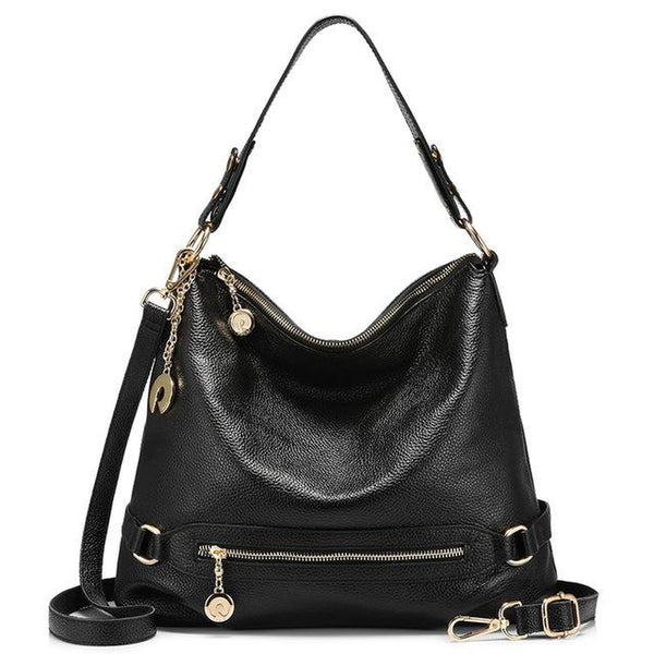 <bold>Hobo  / Tote Bag <br>Genuine-Leather Handbag Black - strapsandbrass.com