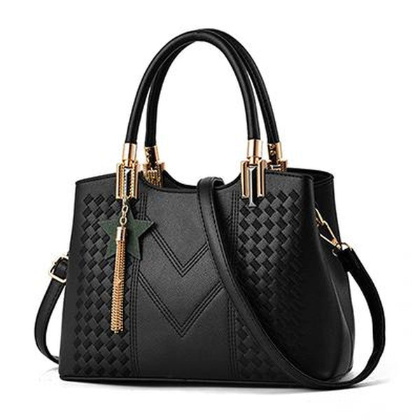 <bold>Top-Handle | Crossbody Bag  <br>Vegan-Leather Handbag Black - strapsandbrass.com