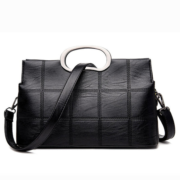 <bold>Tote / Messenger Bag <br>Genuine-Leather Handbag Black - strapsandbrass.com
