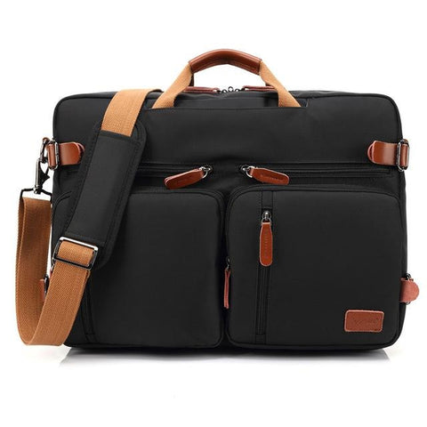 Convertible Backpack / Messenger / Laptop <br> Nylon Backpack Black - strapsandbrass.com