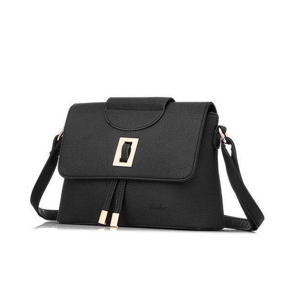 <bold>Messenger  / Shoulder Bag  <br>Vegan-Leather Handbag Black - strapsandbrass.com