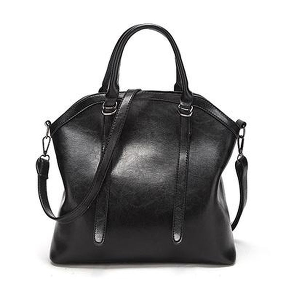 <bold>Top-Handle | Tote Bag  <br>Vegan-Leather Handbag Black - strapsandbrass.com