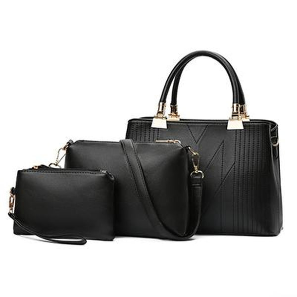 <bold>Tote Crossbody & Purse Set  <br>Vegan-Leather Handbag Black - strapsandbrass.com