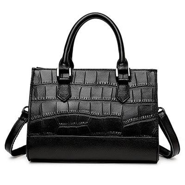 Tote / Crossbody Bag  <br>Genuine-Leather Handbag Black - strapsandbrass.com