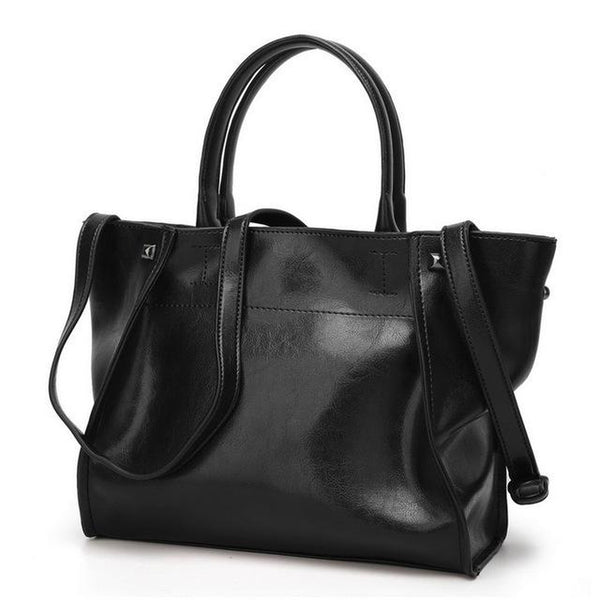 <bold>Tote  / Shoulder Bag  <br>Vegan-Leather Handbag Black - strapsandbrass.com