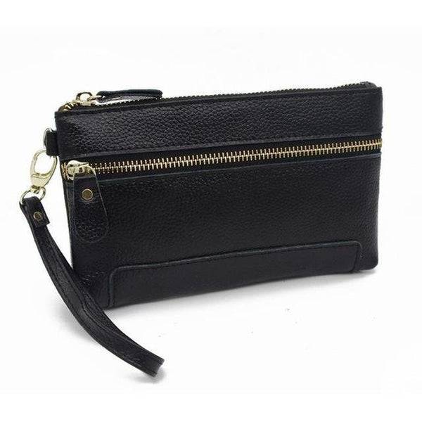 <bold>Clutch / Wristlet  <br>Genuine-Leather Handbag Black - strapsandbrass.com