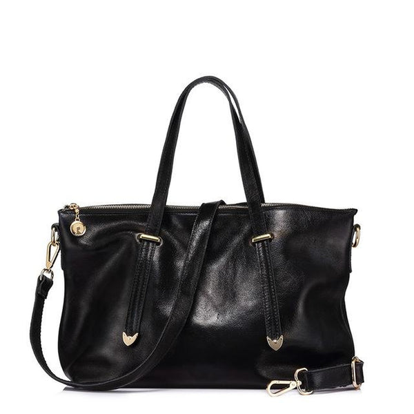 <bold>Tote  / Shoulder Bag <br>Genuine-Leather Handbag Black - strapsandbrass.com