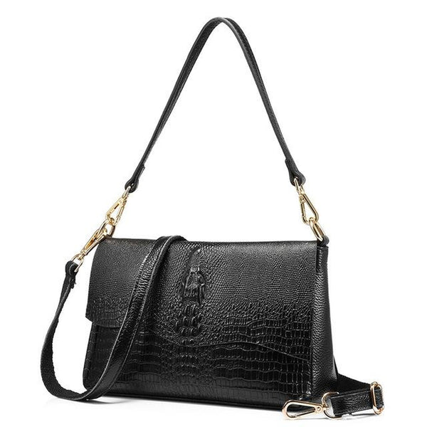 <bold>Crossbody  / Shoulder Bag <br>Genuine-Leather Handbag Black - strapsandbrass.com