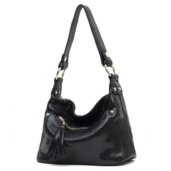 <bold>Hobo  / Tote Bag  <br>Vegan-Leather Handbag Black - strapsandbrass.com