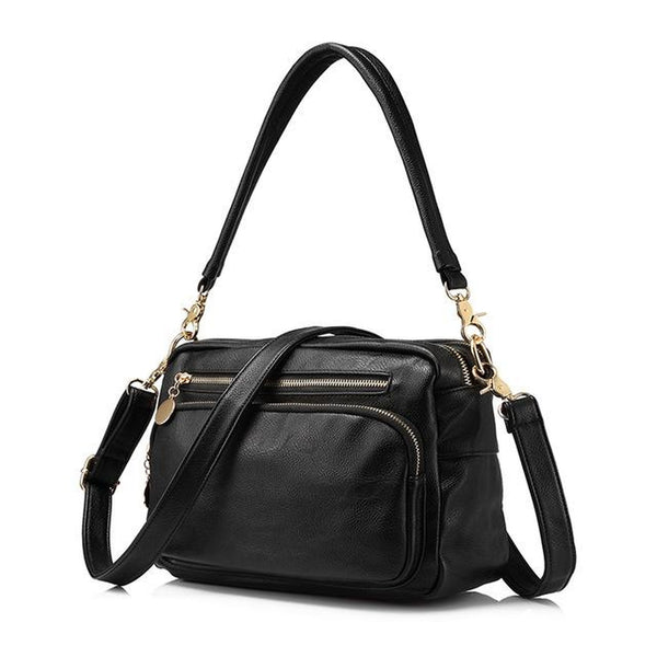 <bold>Messenger  / Tote Bag  <br>Vegan-Leather Handbag Black - strapsandbrass.com