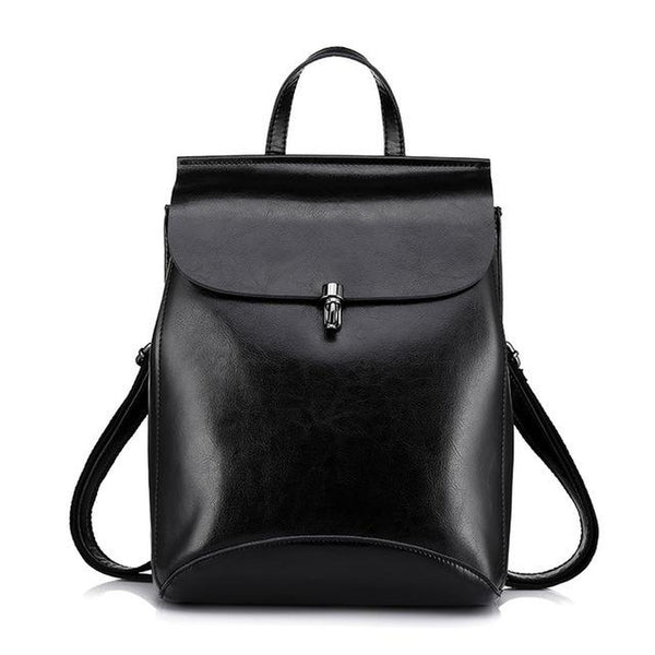 <bold>Fashion Backpack  <br>Genuine-Leather Fashion Backpack Black - strapsandbrass.com