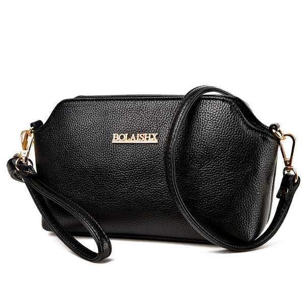 Shell / Crossbody Bag  <br>Genuine-Leather Handbag Black - strapsandbrass.com
