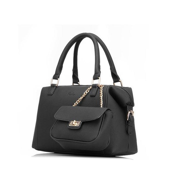 <bold>Tote & Crossbody Bag Set <br>Vegan-Leather Handbag Black - strapsandbrass.com