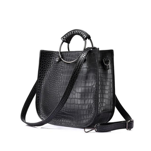 <bold>Tote  / Crossbody Bag  <br>Vegan-Leather Handbag Black - strapsandbrass.com