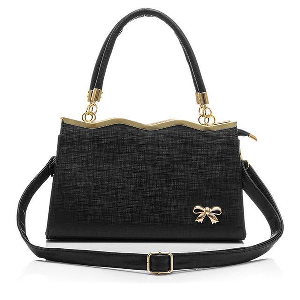 <bold>Top-Handle / Crossbody Bag <br>Vegan-Leather Handbag Black - strapsandbrass.com