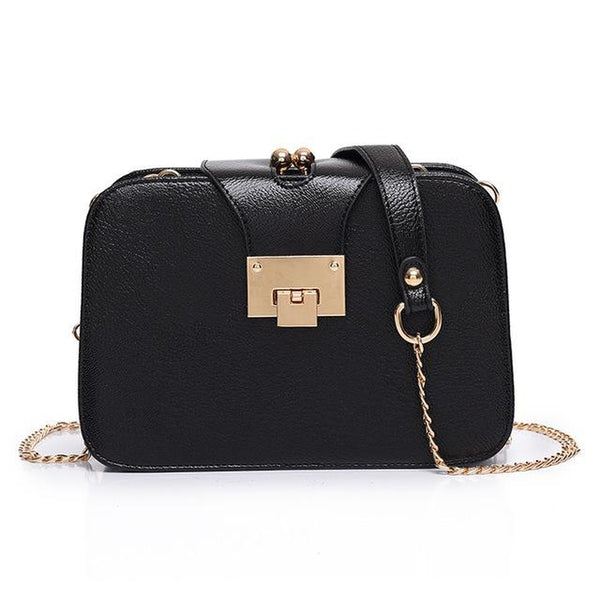 <bold>Clutch  / Messenger Bag  <br>Vegan-Leather Handbag Black - strapsandbrass.com