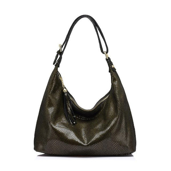 <bold>Hobo / Tote Bag <br>Genuine-Leather Handbag Black and Gold - strapsandbrass.com