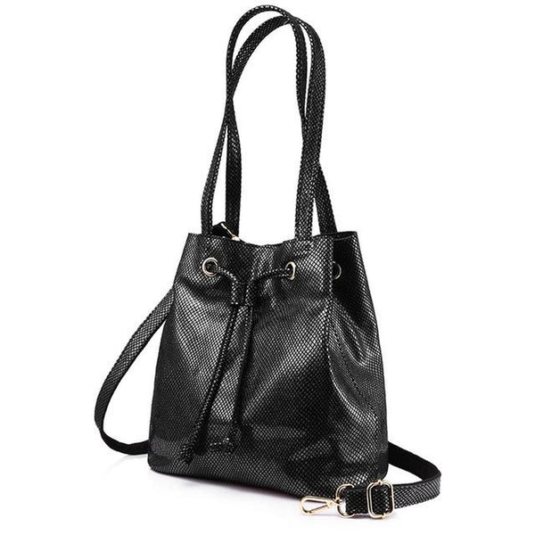 <bold>Bucket / Crossbody Bag <br>Genuine-Leather Handbag Black and Gray - strapsandbrass.com