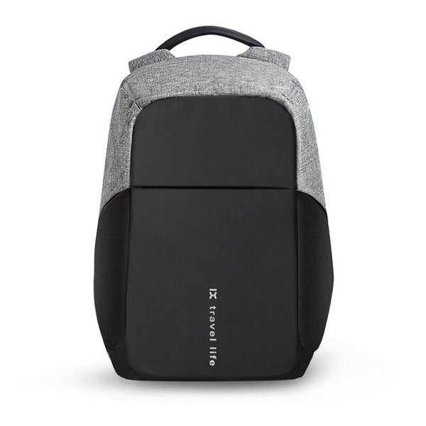 Backpack USB Charging & Anti-Theft <br> Nylon Backpack Black and Gray - strapsandbrass.com