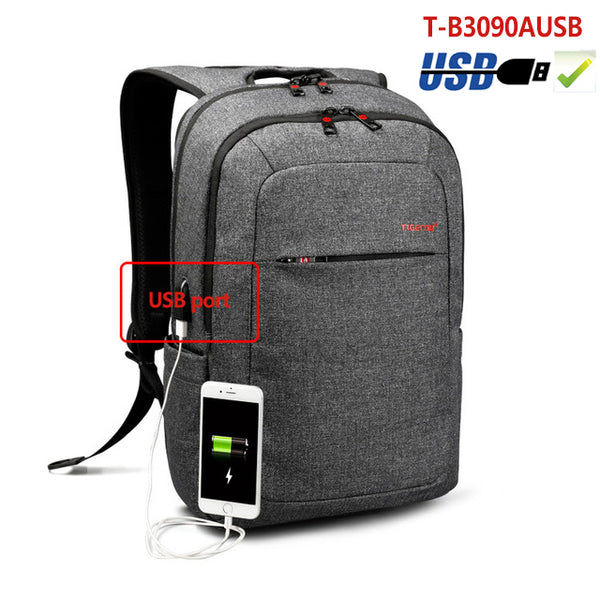 Backpack USB Charging & Anti-Theft <br> Oxford Backpack Black grey 3090USB - strapsandbrass.com