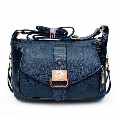 Crossbody / Shell Bag <br>Vegan-Leather Handbag Blue - strapsandbrass.com