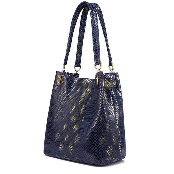 <bold>Bucket  / Tote Bag <br>Genuine-Leather Handbag Blue - strapsandbrass.com