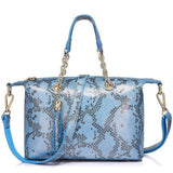 <bold>Tote  / Shoulder Bag <br>Genuine-Leather Handbag Blue - strapsandbrass.com