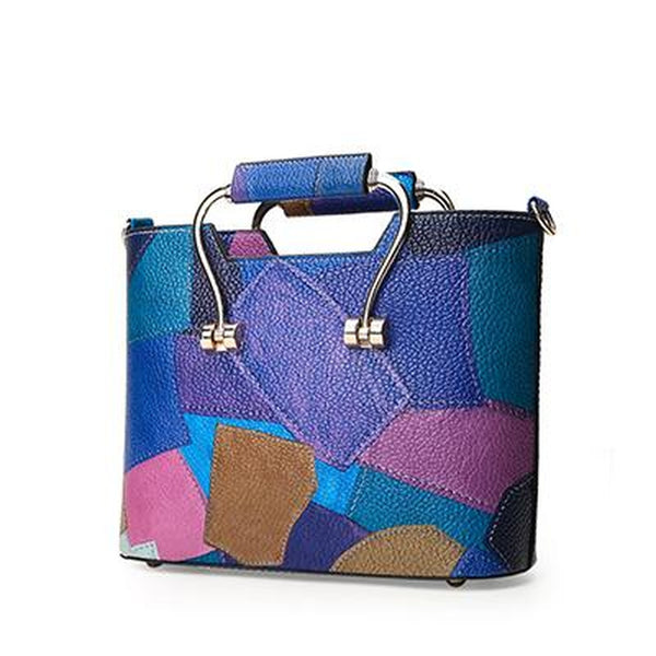 <bold>Tote / Top-Handle Bag <br>Vegan-Leather Handbag Blue - strapsandbrass.com