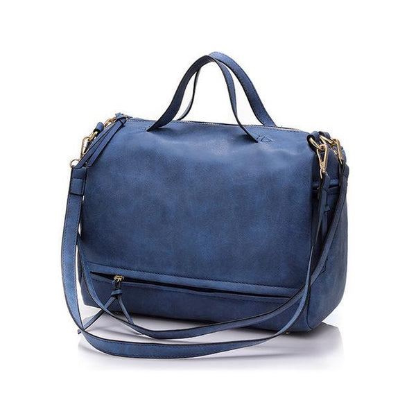 <bold>Messenger  / Crossbody Bag <br>Vegan-Leather Handbag Blue - strapsandbrass.com
