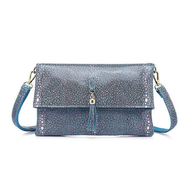 <bold>Crossbody / Shoulder Bag <br>Genuine-Leather Handbag Blue - strapsandbrass.com