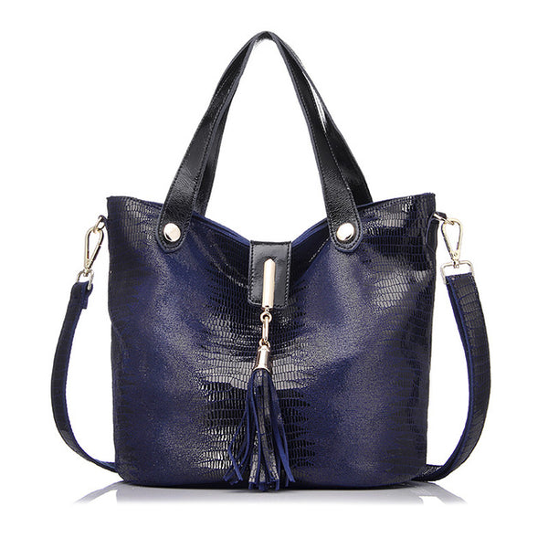 <bold>Bucket / Crossbody Bag <br>Genuine-Leather Handbag Blue - strapsandbrass.com