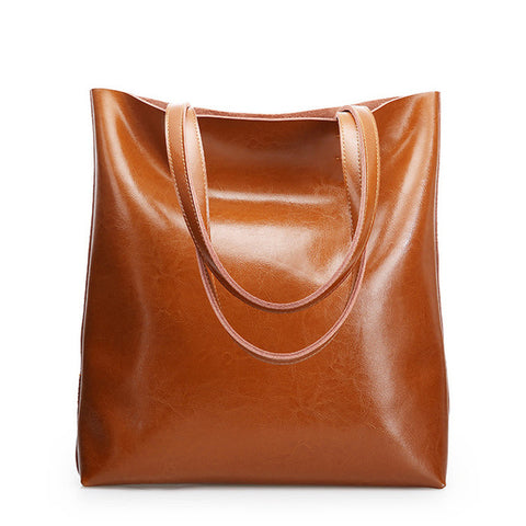 <bold>Bucket  / Tote Bag <br>Genuine-Leather Handbag Brown - strapsandbrass.com