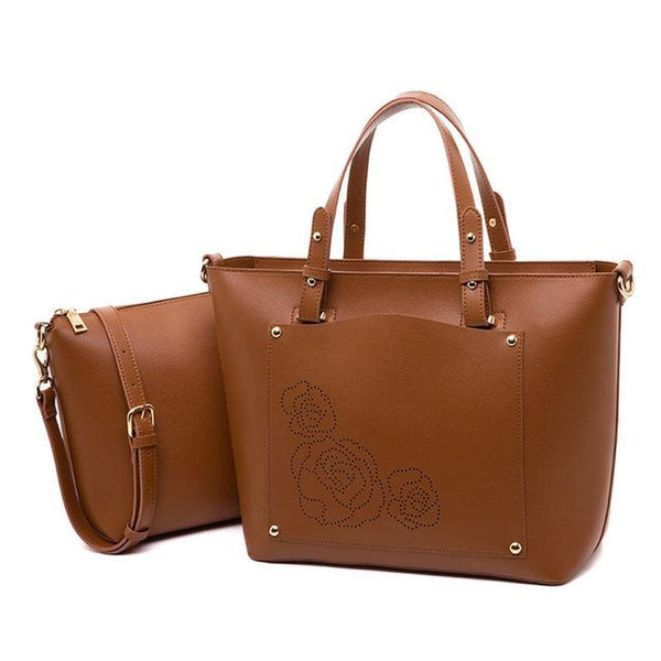 <bold>Tote & Crossbody Bag Set <br>Vegan-Leather Handbag Brown - strapsandbrass.com