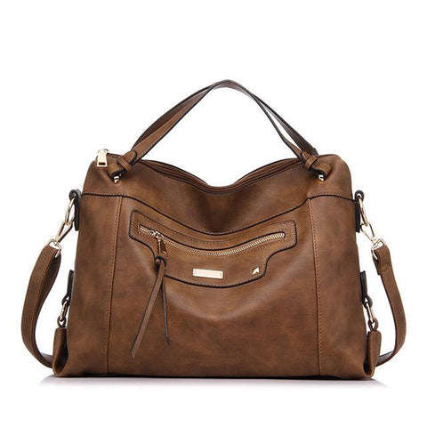 <bold>Hobo  / Tote Bag  <br>Vegan-Leather Handbag Brown - strapsandbrass.com