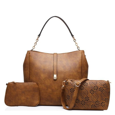 <bold>Tote Crossbody Bag & Purse Set <br>Vegan-Leather Handbag Brown - strapsandbrass.com