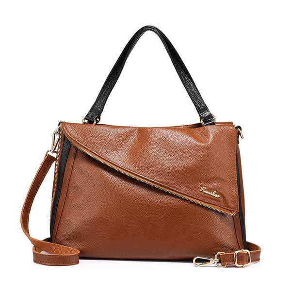 <bold>Tote / Shoulder Bag <br>Genuine-Leather Handbag Brown - strapsandbrass.com