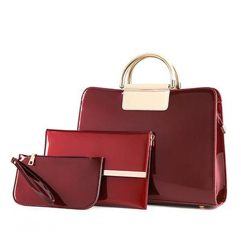 <bold>Tote Crossbody Bag & Purse Set <br>Vegan-Leather Handbag Burgundy - strapsandbrass.com