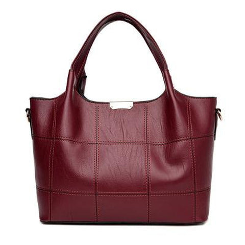 <bold>Tote | Shoulder Bag  <br>Vegan-Leather Handbag Burgundy - strapsandbrass.com