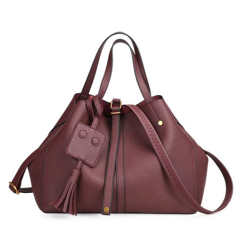 <bold>Tote / Shoulder Bag <br>Vegan-Leather Handbag Burgundy - strapsandbrass.com