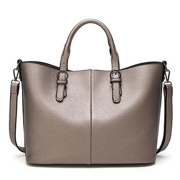 <bold>Tote  / Shoulder Bag  <br>Vegan-Leather Handbag Champagne - strapsandbrass.com