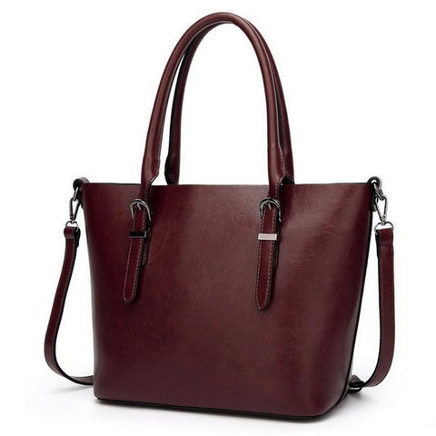 <bold>Tote  / Shoulder Bag  <br>Vegan-Leather Handbag DK Red - strapsandbrass.com