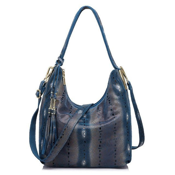 <bold>Hobo  / Tote Bag <br>Genuine-Leather Handbag Blue - strapsandbrass.com