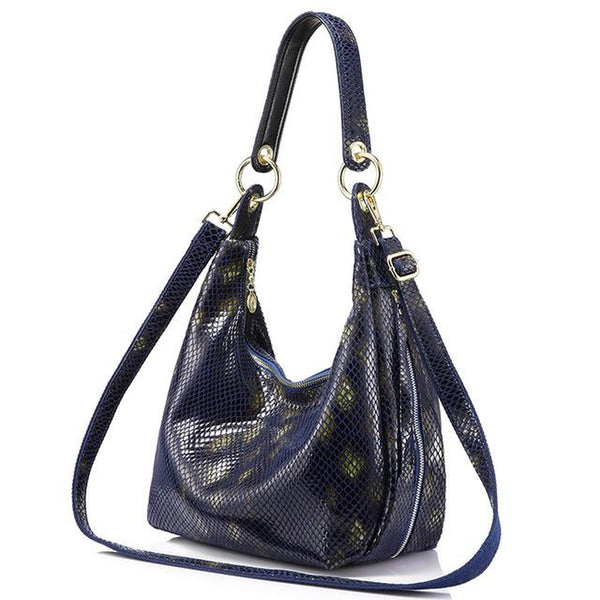 <bold>Hobo / Tote Bag <br>Genuine-Leather Handbag Deep Blue - strapsandbrass.com
