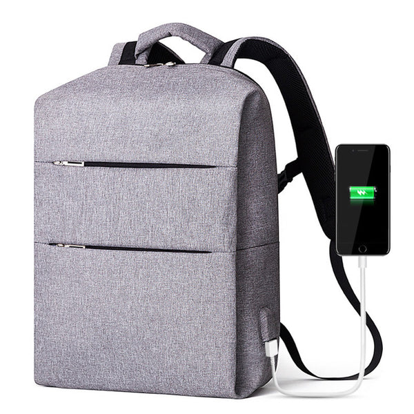 Copy of Backpack USB Charging <br> Canvas Backpack GRAY - strapsandbrass.com