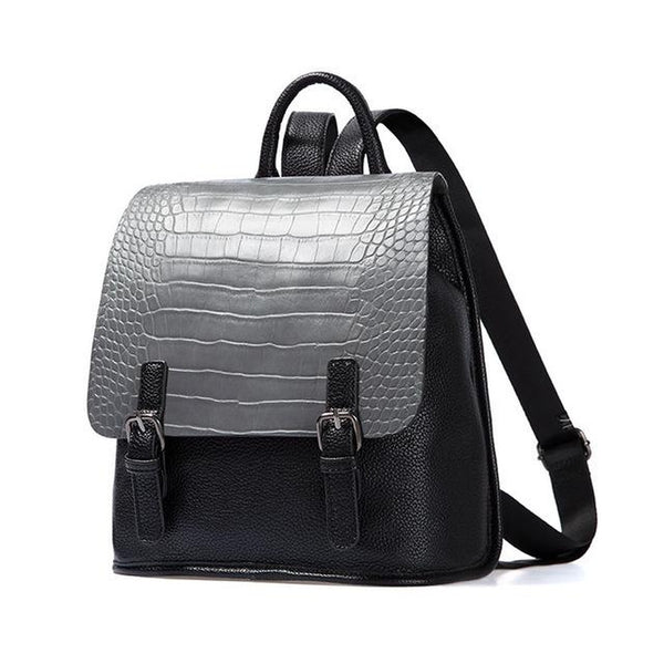 <bold>Fashion Backpack  <br>Vegan-Leather Fashion Backpack Gray - strapsandbrass.com